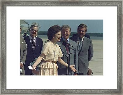 Rosalynn Carter Speaks Upon Her Return Framed Print by Everett