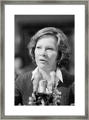 Rosalynn Carter Testifies Before Senate Framed Print by Everett