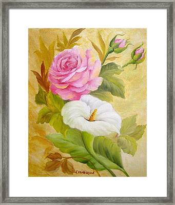 Rose And Calla Lily Framed Print