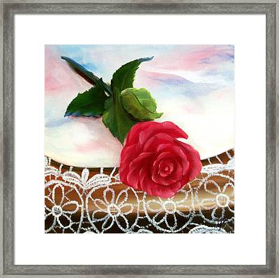 Rose And Lace Framed Print by Joni McPherson