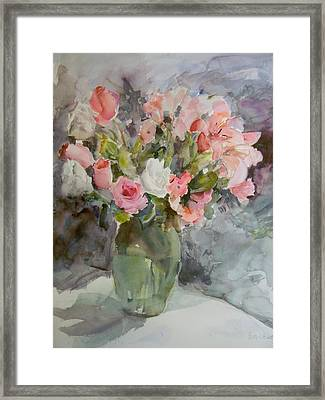 Rose And Lily Bouquet Framed Print by Betty J Bee