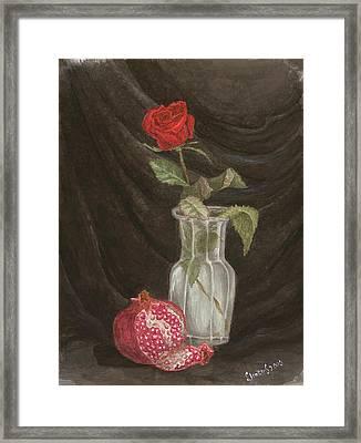 Rose And Pomegranate Framed Print