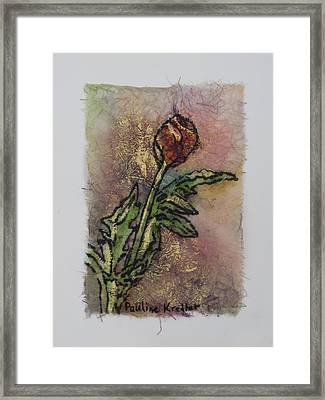 Framed Print featuring the painting Rose Bud by Pauline  Kretler