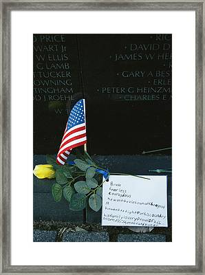 Rose, Flag, And Note Of Remembrance Framed Print