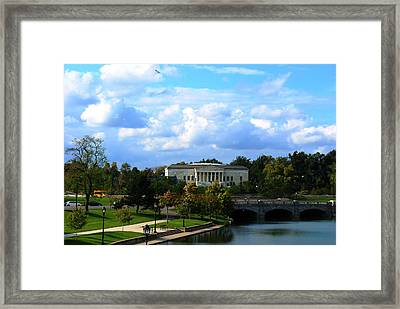 Framed Print featuring the photograph Rose Garden And Hoyt Lake by Michael Frank Jr