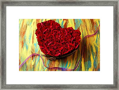 Rose Heart And Ribbon Framed Print by Garry Gay
