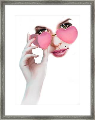 Rose Tinted Love Variant 1 Framed Print by Andrew Farley