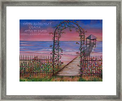 Rose Trellis Retirement Framed Print