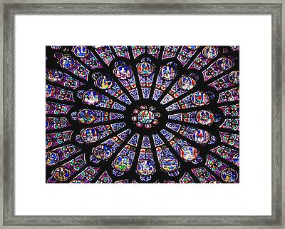 Rose Window In The Notre Dame Cathedral Framed Print by Axiom Photographic