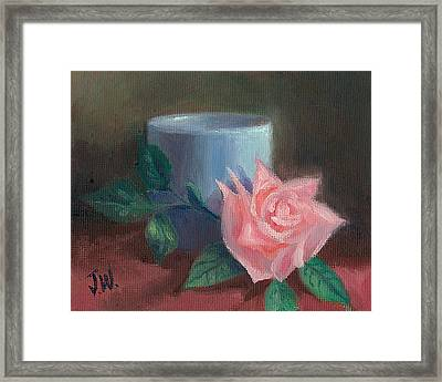 Rose With Blue Cup Framed Print
