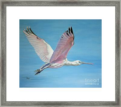 Framed Print featuring the painting Roseate Spoonbill In Full Flight by Jimmie Bartlett
