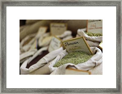 Rosemary And Provencal Herbs In Farmers Market Framed Print by Alexandre Fundone
