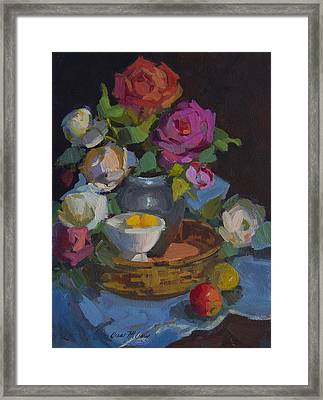 Roses And Basket Framed Print by Diane McClary