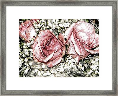 Roses And Lace Framed Print