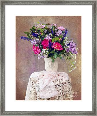 Framed Print featuring the photograph Roses And Lilac  by Cheryl Davis
