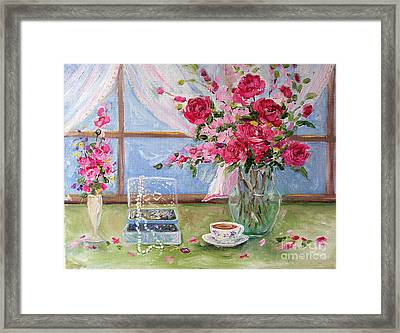 Roses And Pearls Framed Print by Jennifer Beaudet
