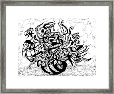 Roses And Tulips Framed Print by Ievgeniia Lytvynovych