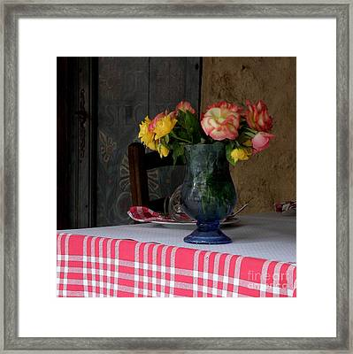Framed Print featuring the photograph Roses In Blue Glass Vase by Lainie Wrightson