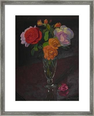 Roses In Glass 1982 Framed Print