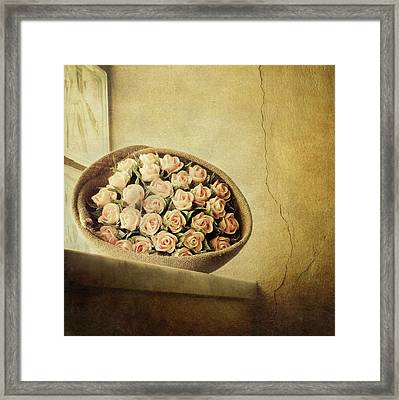 Roses On Window Framed Print by Marco Misuri