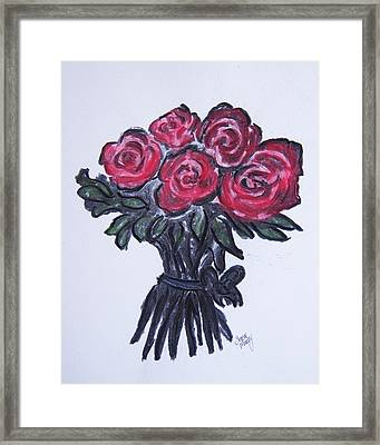 Framed Print featuring the drawing Roses by Serene Maisey