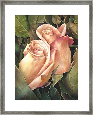 Framed Print featuring the painting Rosey Embrace by Nancy Tilles