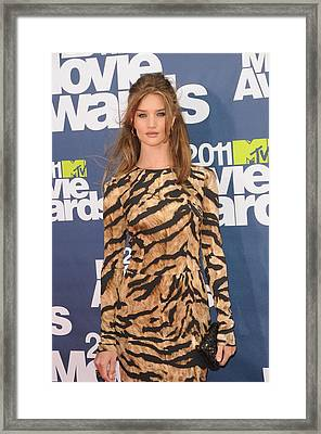 Rosie Huntington Whiteley Wearing Framed Print by Everett