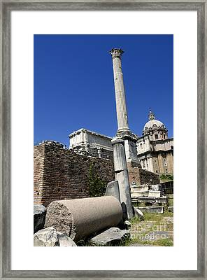 Rostra. Column Of Phocas And Septimius Severus Arch In The Roman Forum. Rome Framed Print by Bernard Jaubert