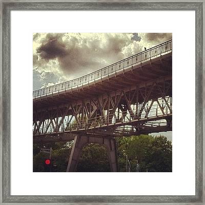Rot #red #traffic #light #bridge Framed Print