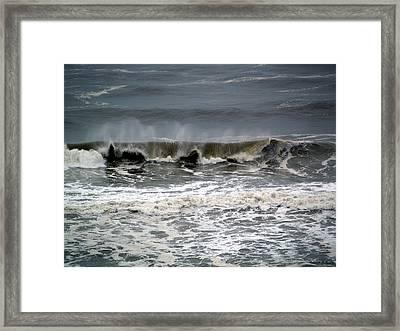 Rough Waves 4 Framed Print by Deborah Hughes