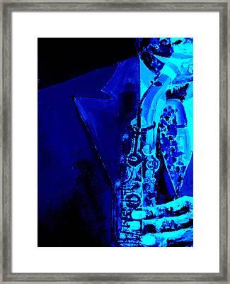 Round Midnight - Jazz Framed Print by Forartsake Studio