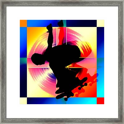 Round Peg In Square Hole Skateboarder Framed Print