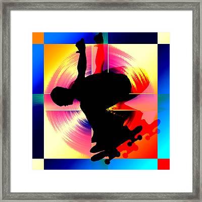 Round Peg In Square Hole Skateboarder Framed Print by Elaine Plesser