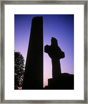 Round Tower And High Cross Framed Print