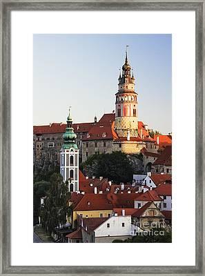 Round Tower At Cesky Krumlov Castle Framed Print by Jeremy Woodhouse