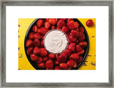 Round Tray Of Strawberries  Framed Print by Garry Gay