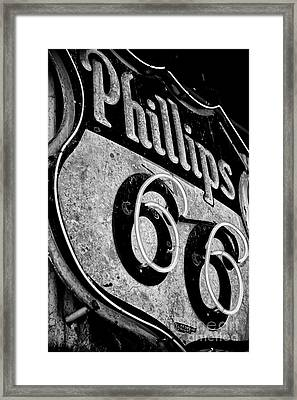 Route 66 Sign Black And White Framed Print by Hideaki Sakurai