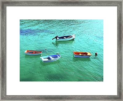 Row Boats On Turquoise Water Framed Print by Leniners
