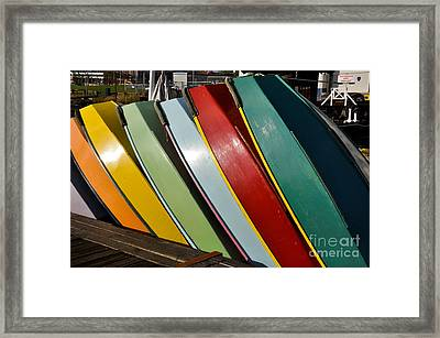 Row Of Boats Framed Print by Camille Lyver