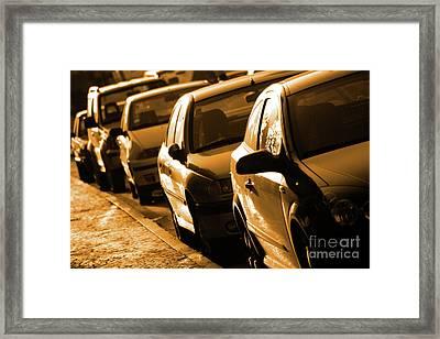 Row Of Cars Framed Print by Carlos Caetano