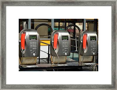Row Of Pay Phones In Venice Framed Print by Sami Sarkis