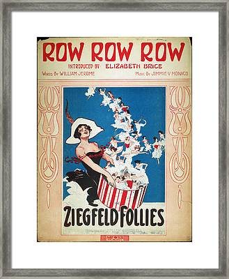 Row Row Row: Song Sheet Framed Print by Granger