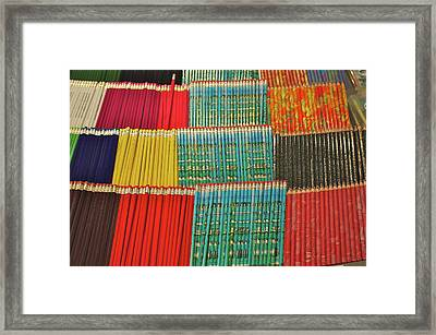 Row Upon Row Of Pencils Framed Print by Alan Fishleder