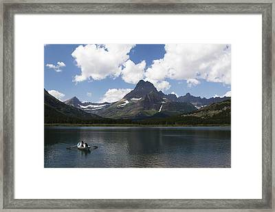 Rowboat At Many Glacier Framed Print
