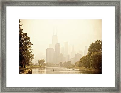 Rower In Mist With Downtown Chicago In The Background Framed Print by Andria Patino