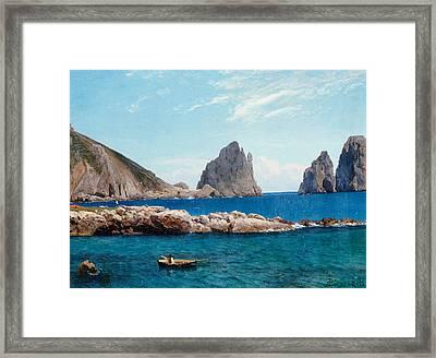Rowing Off The Rocks Framed Print by Albert Bierstadt