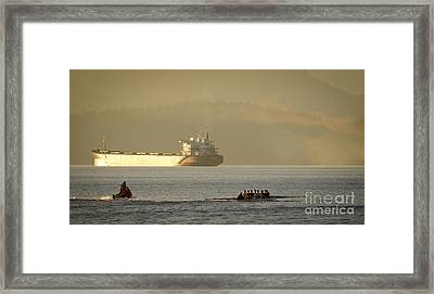 Rowing Tanker Training Off Sunset Beach Park Downtown Vancouver Bc Canada Framed Print