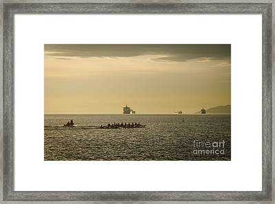 Rowing Training Off Sunset Beach Park False Creek Vancouver Bc Canada Framed Print by Andy Smy