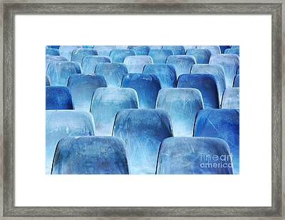 Rows Of Blue Chairs Framed Print by Carlos Caetano