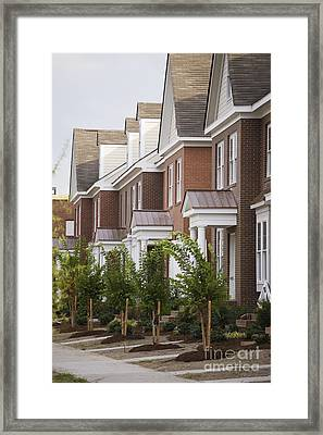 Rows Of New Townhomes Framed Print by Roberto Westbrook